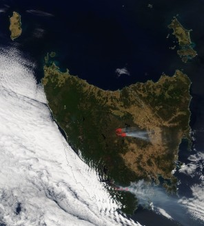The smoke from the bushfires burning in Tasmanian in January 2019 is clearly visible from satellite images (Credit: NASA EOSDIS Worldview).