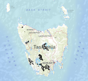 Location and extent of the burnt areas to date (Credit: Tasmanian Fire Service; Source: TheLIST).
